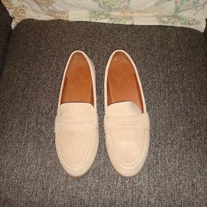 Faux Suede Cream Loafers